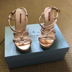 Rose gold Prada wedges